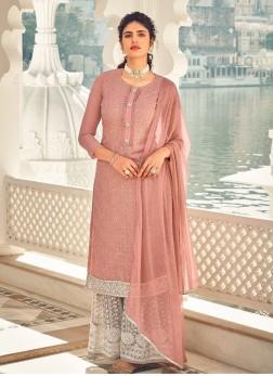 Barik Dori Embroidery Designer Salwar Suit With Palazzo In