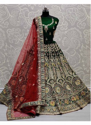 Barik Embroidery Panetar Lehenga Choli In Green