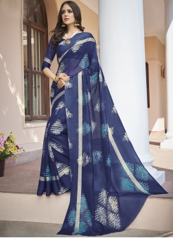 Baronial Abstract Print Fancy Fabric Printed Saree