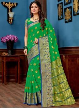 Baronial Green Woven Chanderi Traditional Saree