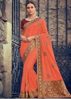 Baronial Orange Designer Saree
