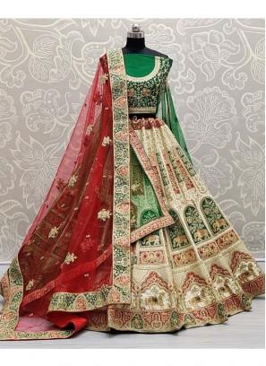 Beatific Indian Traditional Bride Lehenga  Choli In Red & Green