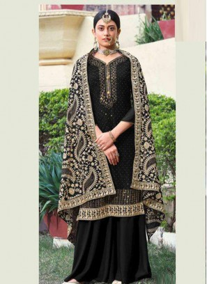 Beaut Festival Wear Chian Work On Georgette Salwar Suit In Black