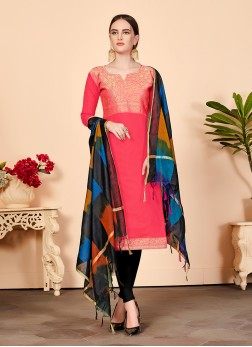 Beauteous Abstract Print Pink Churidar Suit