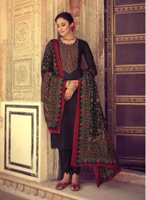 Beauteous Black Kashmiri Embroidery Salwar Suit With Designer Dupatta