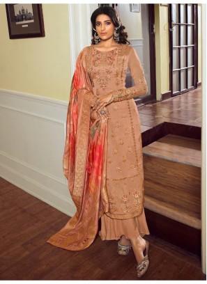 Beauteous Floral Resham Thread Work Palazzo Style Salwar Kameez In Rust