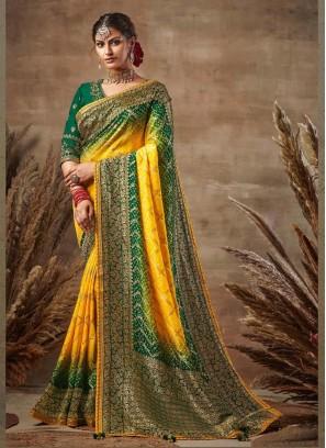 Beauteous Yellow & Green Siroski Diamond Pallu Pure Soft Silk