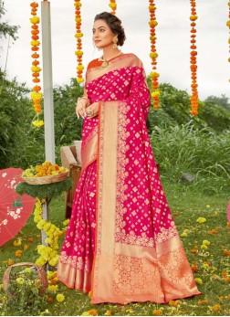 Beautiful Boder & Blouse Gold Print Silk Saree In Magenta