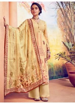 Beautiful Digital Print On Palazzo Style Salwar Suit In Yellow