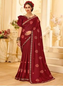 Beautiful Embroidery Work Silk Saree In Maroon