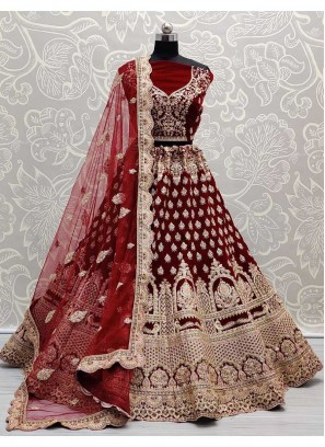Beautiful Gold Embroidery Work Wedding Lehenga Choli In Maroon