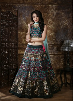 Beautiful Green Color Silk Lehenga Choli