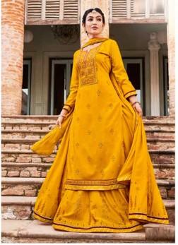 Beautiful Haldi Ceremony Embroidery Work Lehenga Style Suit In Yellow
