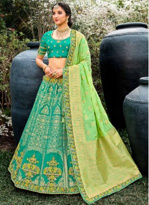 Beautiful Hand Work Silk Lehenga Choli In Green
