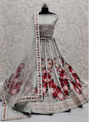 Beautiful Heavy Embroidery Work Reception Lehenga Choli In Grey