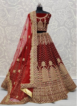 Beautiful Maroon Design on Velvet Dori and Zari Embroidery Work Lehenga Choli