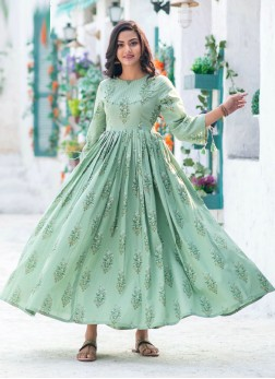 Beautiful Neck Design Printed Anarakali Style Long Kurti  In Moss Green
