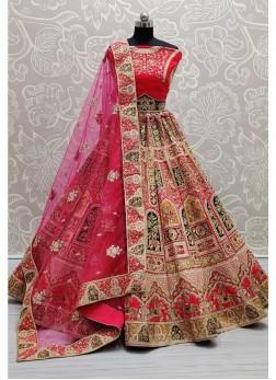 Beautiful Thread embroidered Designer Pink bridal Lehenga choli
