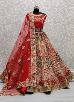 Beautiful Thread embroidered Designer Red bridal Lehenga choli