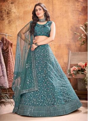 Beautiful Thread Work Wedding Lehenga Choli In Dark Rama