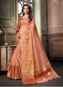 Beautiful Weaving Peach Classic Saree