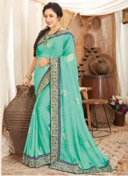 Beautiful Weaving Work On Silk Saree In  Aqua Blue