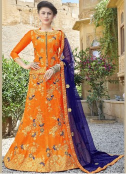 Beautiful Zari Art Silk Orange Trendy Lehenga Choli