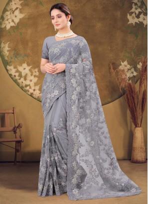 Beautifully Heavy Zarkan & Moti Stone Work Net Saree In Grey