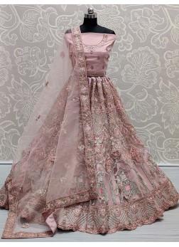 Beauty Dori & Thread Work On Net Bridal Lehenga Choli In Pink