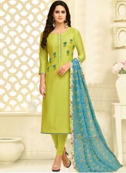 Beckoning Green Chanderi Cotton Churidar Suit