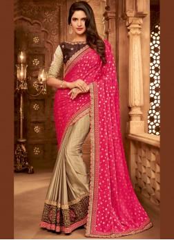 Beige and Hot Pink Fancy Fabric Embroidered Designer Half N Half Saree