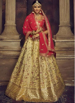 Beige and Red Art Silk Embroidered Lehenga Choli