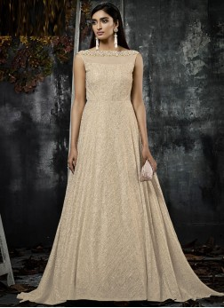 Beige Color Trendy Gown