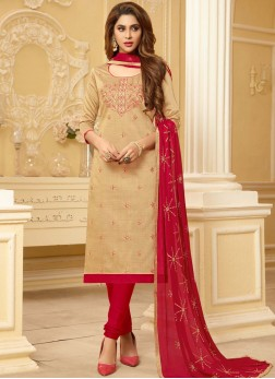 Beige Cotton Embroidered Churidar Suit