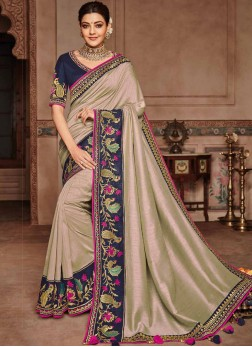 Beige Embroidered Art Silk Designer Saree