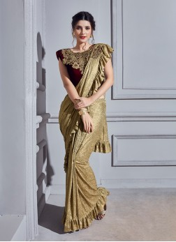 Beige Fancy Fabric Classic Designer Saree