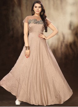 Beige Fancy Floor Length Gown