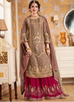 Beige Faux Georgette Designer Pakistani Suit