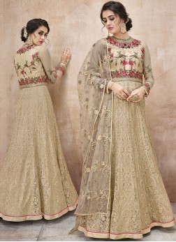 Beige Net Floor Length Anarkali Suit