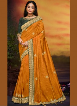 Best Mustard Traditional Designer Saree