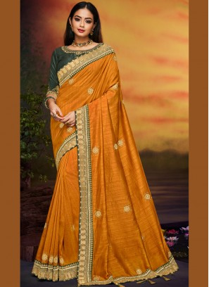Best Mustard Traditional Designer Saree