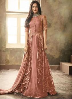 Best Resham Peach Floor Length Anarkali Suit