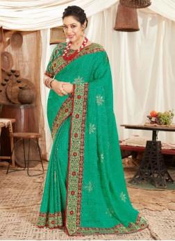 Beuatiful Weaving Work On Silk Saree In Green