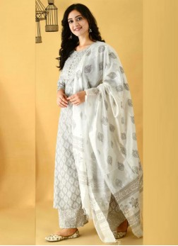 Bewitching Anarkali Style Cotton Salwar Suit In Grey With Dupatta