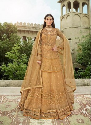 Bewitching Gold Embroidery Anarkali Lehenga Style Salwar Suit