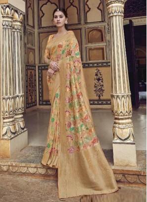 Bewitching Peach Designer Pure Dola Silk Saree