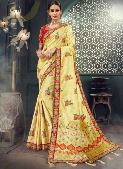 Bhagalpuri Silk Embroidered Classic Saree in Cream
