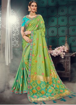Bhagalpuri Silk Embroidered Classic Saree in Green