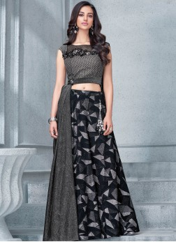 Black and Grey Wedding Lycra Lehenga Choli