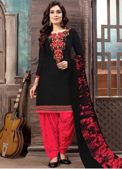 Black Casual Cotton Designer Patiala Salwar Kameez